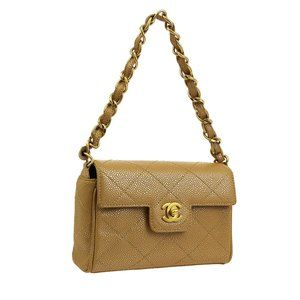 CHANEL Quilted CC Chain Hand Bag Metallic Beige